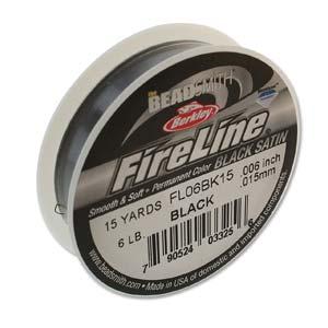 FireLine Braided Bead Thread .006 in/0.15mm diameter 6LB 15yd, Black Satin