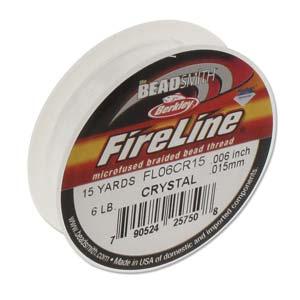 FireLine Braided Bead Thread .006 in/.15mm diameter 6LB 15yd, Crystal Clear