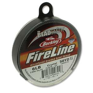 FireLine Braided Bead Thread .006 in/.15mm diameter 6LB 50yd, Crystal Clear