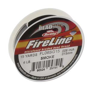 FireLine Braided Bead Thread .006 in/0.15mm diameter 6LB 15yd, Smoke