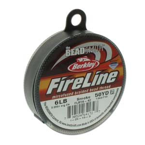 FireLine Braided Bead Thread .006 in/.15mm diameter 6LB 50yd, Smoke