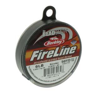 FireLine Braided Bead Thread .006 in/.15mm diameter 6LB 50yd, Smoke