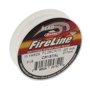 FireLine Braided Bead Thread .007 in/0.17mm diameter 8LB 15yd, Crystal Clear