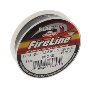 FireLine Braided Bead Thread .007 in/0.17mm diameter 8LB 15yd, Smoke