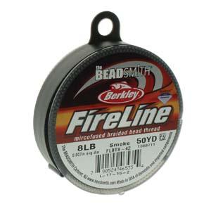 FireLine Braided Bead Thread .007 in/.17mm diameter 8LB 50yd, Smoke