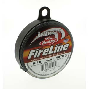 FireLine Braided Bead Thread .008 in/.20mm diameter 10LB 50yd, Smoke Grey
