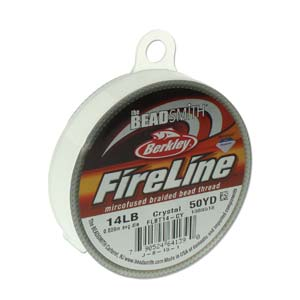FireLine Braided Bead Thread .009 in/.22mm diameter 14LB 50yd, Crystal Clear
