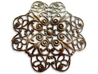 Brass ~ Natural Vintaj 51mm Full Gerbera Petal Filigree x1