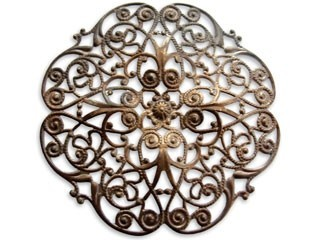 Vintaj Natural Brass 62mm Full Peony Filigree x1