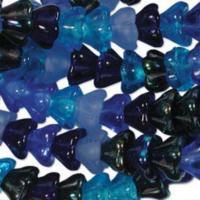 Czech Glass Flower Bell Beads 8/6mm Blue Tones x10pc