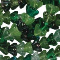 Czech Glass Flower Bell Beads 8/6mm Evergreen x10pc