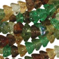 Czech Glass Flower Bell Beads 8/6mm Earthtone x10pc