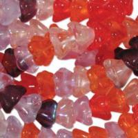 Czech Glass Flower Bell Beads 8/6mm Melonberry x10pc