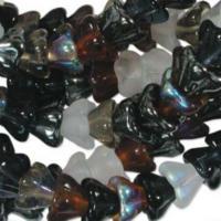 Czech Glass Flower Bell Beads 8/6mm Pebblestone x10pc