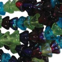 Czech Glass Flower Bell Beads 8/6mm Gem Tones x10pc