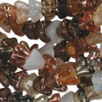 Czech Glass Flower Bell Beads 8/6mm Honey Butter x10pc
