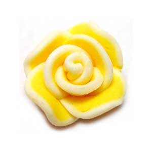 Handmade Sculpted Fimo Rose Beads - Primrose Yellow x2