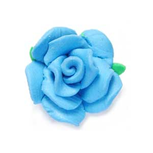 Handmade Sculpted Fimo Rose & Leaf Beads - Turquoise x2