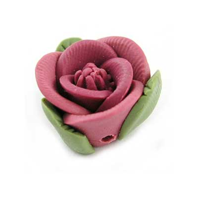 Handmade Sculpted Fimo Rose & Leaf Beads - Dusky Rose