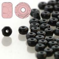 Czech Glass Fire Polished Micro Spacer Beads 2x3mm Jet Black x50pc
