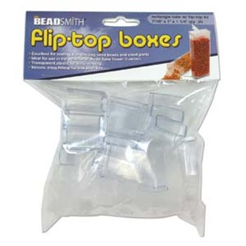 "Plastic Flip Top Clear Storage Tube 7/16""x1""x1 1/4"" (32.5x27x13.5mm) Pack of x20"