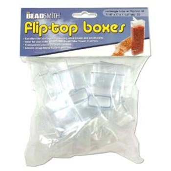 "Plastic Flip Top Clear Storage Tube 7/16""x1""x1 1/2"" (39.5x26.5x12.5mm) Pack of x20"