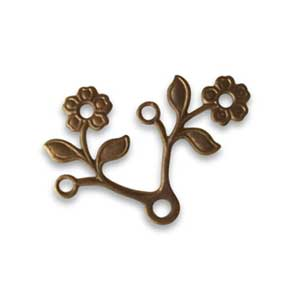 Vintaj Natural Brass 28x22mm Blossoming Duet x1