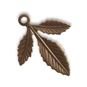 Vintaj Natural Brass 30x24mm Triplasian Leaf x1