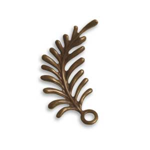Vintaj Natural Brass 30x12mm Fern Curving Right x1