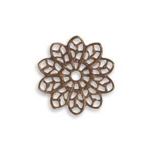 Vintaj Natural Brass 20.5mm Filigree Flower x1