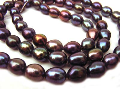 "Freshwater Rice Pearl Beads 6x5mm 16"" Strand - Peacock Black"