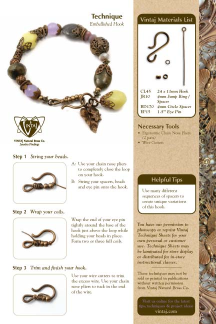Vintaj Natural Brass - Embellished Hook & Filigree Bale Tech Sheet