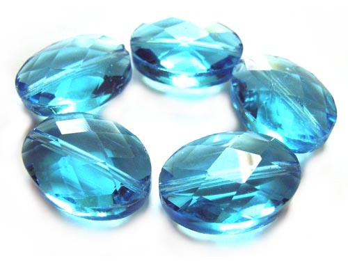 Firepolished Glass Beads 18x13mm Faceted Oval - Aquamarine x5