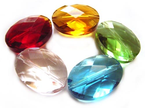 Firepolished Glass Beads 18x13mm Faceted Oval - Gemtones Mix x5