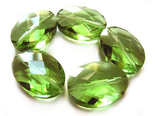 Firepolished Glass Beads 18x13mm Faceted Oval - Peridot x5
