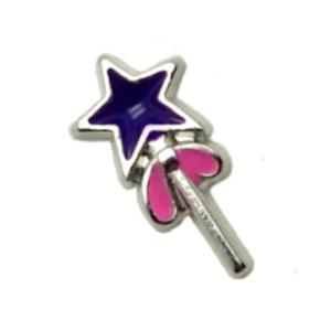 Floating Living Locket Charms, Enamel Little Purple & Pink Fairy Wand