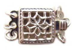 Sterling Silver Clasps - 2-Strand Filigree Square Box Clasp x1