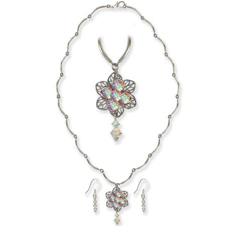 Jewellery Project Kit - Necklace & Earring Set - Flower Filigree - Crystal AB