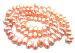 Freshwater PEARL Beads Top Drilled Rice 6x4mm Peach