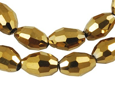 Firepolished Glass Olive Beads 9x6mm Gold Metallic (72pc approx)