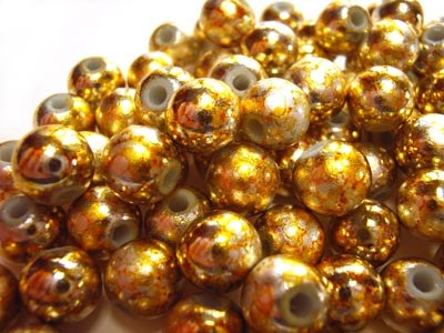 Round Glass Beads 8mm ~ Gold & Silver Metallic