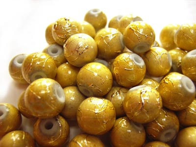 Round Glass Spectra Beads 8mm ~ Old Gold