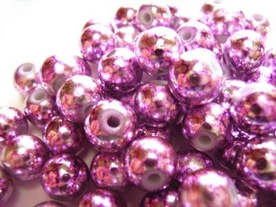 Round Glass Beads 8mm ~ Purple Metallic