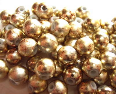 Round Glass Beads 8mm ~ Light Gold Metallic