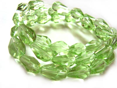 Fire Polished Glass Beads 9x6mm Teardrop - Peridot x40