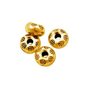 Antiqued Gold Tone 9x5mm Thai Style Donut Beads x10