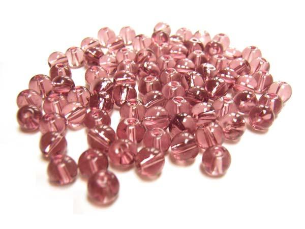 Round Glass Beads 4.5mm ~ Amethyst per Strand