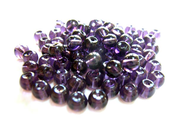 Round Glass Beads 4.5mm ~ Purple per Strand