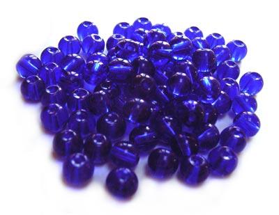 Round Glass Beads 4.5mm ~ Cobalt Blue per Strand
