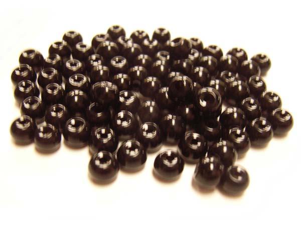 Round Glass Beads 4.5mm ~ Jet Black per Strand